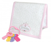 Stephan Baby Royalty Collection Embroidered Burp Pad and Key Rattle Gift Set, Little Princess