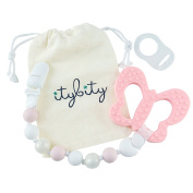 Butterfly Teething Toy and Pacifier Clip, BPA Free Silicone Teether