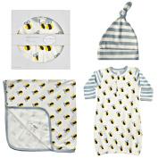 Cat & Dogma Organic Cotton Newborn 0-6 Months Bee Hat Blanket Gown Gift Set