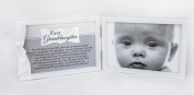 First Grandchild Picture Frame- White Double Hinged Tabletop Photo Frame Holds 10cm x 15cm Pictures or Ultrasounds- Includes Beautiful Sentiment/Poem and Accented White Ribbon