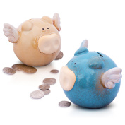 Spring Sales! Unique Flying Pig Ceramic Piggy Bank For Kids Boys Girls Teens & Adults Savings