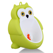 Foryee Cute Owl Potty Training Urinal for Boys with Funny Aiming Target and Water Pipe - Green