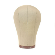 Canvas Block Head for Wig Display, Making and Styling, Mannequin Head with Mount Hole 60cm