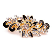 So Beauty Women's Multilayered Peacock Shaped Rhinestone French Barrette Hair Clip Black
