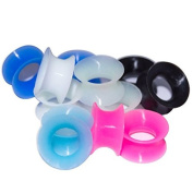 Lot of 12 Gauges Glow In a UV Light Super Thin Silicone Ear Tunnels 6 Colours Included please chose size