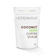 Advanced Organic Coconut Hemp Coffee Scrub with Dead Sea Salt - Professional Scrub Helps Tighten Skin, Reduces Cellulite, Improves Circulation, Promotes Healing of Dry & Damaged Skin - 225 grammes