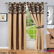 """RING TOP FULLY LINED PAIR EYELET READY CURTAINS LUXURY DAMASK CURTAIN RING TOP (66"""" x 72"""""""