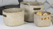 Set of 3 Seagrass Basket Nature With Handle, Natural