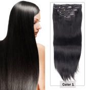 Clip in Hair Extensions 100% Real Human Hair Double Weft Thick to Ends Jet Black(#1) 10pieces 220grams230ml