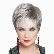 Towpwigy Womens Short Straight Human Hair Cool Stylish Dark Root Silver Body Mixed Human Hair Natural Replacement Wigs