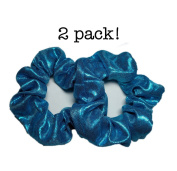 Shiny Metallic Scrunchie Set, Set of 2 Blue Lame Scrunchies