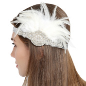 FAYBOX Vintage 1920s Flapper Headbands Gatsby Feather Headpieces WHT