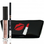 Matte Lip Liner and Lipstick Set By Dollup Beauty - Set Includes Liquid Matte Lipstick & Smoothing Lip Liner w/ Handcrafted Silhouette Cosmetic Bag