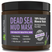 "(Value Size 470ml) Premium Dead Sea Mud Mask, ""LAVENDER BLEND"" + FREE Applicator Brush, Combat Acne, Oily Skin & Blackheads, Minimise Pores, For Smooth, Beautiful & Healthy Looking Skin"