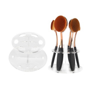 MAANGE 6 Hole Transparent Oval Makeup Brush Holder Drying Rack Organiser-Four Colours Available