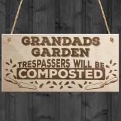 Red Ocean Grandads Garden Trespassers Composted Novelty Wooden Hanging Plaque Gift Sign