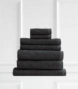 Style & Co Resort 600 GSM Egyptian Cotton Jacquard 7 Piece Towel Pack  - Charcoal Coconut