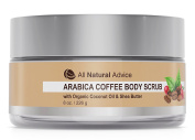 Arabica COFFEE BODY SCRUB with Organic Coconut Oil & Shea Butter | Organic Natural Face Cleanser and Exfoliate | Treats Acne, Cellulite, Stretch Marks, Scars, Age Spot | Made in Canada| 240 ml | DOUBLE THE SIZE