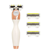 Shave-Lab Twee White Edition Gold Rush Lady Shaver with 4x P.L.6 Blades for Body Shaving