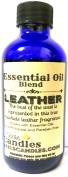 Leather 4oz / 118.29ml Blue Glass Bottle of Essential Oil Blend / Premium Grade Fragrance Oil, Skin Safe Oil, Candles, Lotions Soap & More