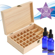 KINGSO Essential Oil Storage Box Wooden Case Container Pine Holds 34 oils total(30 bottles 5-15ml & 4 Roller Bottles 30ml) Large Organiser Best For Travel,Display,Cosmetics & Presentations