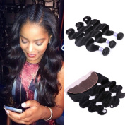 LSY Brazilian Virgin Hair 3 Bundles Body Wave With Lace Frontal Unprocessed 7A Human Hair Extensions Natural Colour