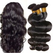 JINREN Brazilian Virgin Hair Body Wave Hair Weave 3 Bundles Full Head Set Unprocessed Virgin Human Hair Weave Natural Black 25cm - 70cm