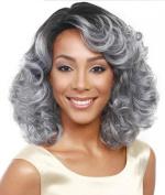SmartFactory Natural Fashion Grey Cury Synthetic Fibre Wig for Grandma