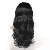 Full Lace Wavy Wig Black Brown 100% Human Hair Wig 36cm