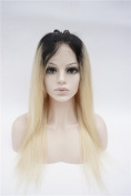 Nobel Hair #1b/613 Ombre Blonde Colour Straight Brazilian Virgin Hair Full Lace Human Hair Wigs For White Black Women Dark Roots
