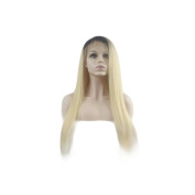 Nobel Hair #1b/613 Ombre Blonde Colour Straight Brazilian Virgin Hair Lace Front Human Hair Wigs For White Black Women Dark Roots