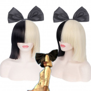ISEYMI Women Black And Blonde Short Cosplay Wig Halloween Women Hair Decoration with A Free Bowknot