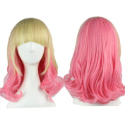 YX Harajuku Lolita Ombre Medium Length Curly Synthetic Wigs Girls Cute Anime Cosplay Hair Wig Party Wig(Beige and Pink)45CM 18""