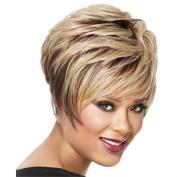 YX Synthetic Fluffy Golden Women Short Straight Hair Wigs