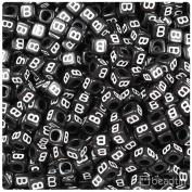 "BEADTIN Letter ""B"" Black Opaque w/White 6mm Cube Alphabet Beads"