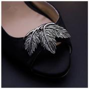 Douqu 2 Pcs Shoes Dress Hat Accessories Fashion Vintage Shoe Clips Elegant Leaves Removable Shoe Charms