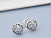 925 sterling Silver Stud Earrings With Cubic Zircon Dazzling Droplets, Clear CZ Fashion Jewellery For Women