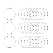 Heirtronic 100 Pieces Silver Plated Wine Glass Charm Rings Earring Open Beading Hoop Party Favour