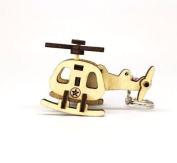 Wood Helicopter Keychain Handmade Thai Craft Toy Kids Souvenir Gift Collectible