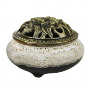 Retro Vintage Ceramic Incense Burner Cone Incense Holder, Handmade Ceramic Stick with Hollow Copper Cover, Buddhist, Home Bedroom Decor