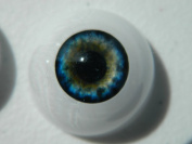 24mm Pair of Realistic Life Size Acrylic Half Round Hollow Back Eyes for Halloween PROPS, MASKS, DOLLS or Bears FL02