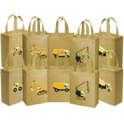 Ava & Kings 10 Pack Reusable Party Favour Kids Goodie Bags - Construction Work
