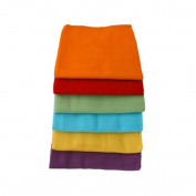 6 Pack of Bright Rainbow Coloured Muslin Squares Unisex - 100% Cotton