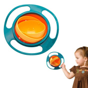 Jazooli Non Spill Baby Food Bowl Spilling 360 Rotating Kid Feeding Dish Toddler Gyro Toy