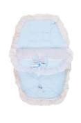 Gorgeous Pushchair Frilly Footmuff / Liner With Sparkly Bow - Blue