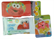 Sesame Street Beginnings Elmo Baby Travel Bundle With Teether, Baby Wipes & Convenient Wipes Travel Case