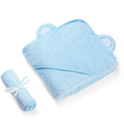 Jungle Snugs Luxury Hooded Baby Towel & Washcloth (Blue) Antibacterial & Hypoallergenic | Extra Soft to Keep Baby Warm & Cosy | 90cm x 90cm size, for infants & toddlers