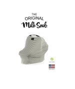 "AS SEEN ON SHARK TANK The Original Milk Snob Infant Car Seat Cover and Nursing Cover Multi-Use 360° Coverage Breathable Stretchy ""Olive & Ivory Pinstripes"""