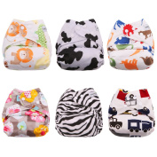 BESTOBABY Reusable Minky Cloth Pocket Nappies Adjustable Snap, 6 pcs + 6 Inserts