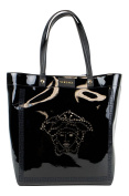 VERSACE MAINLINE Black Faux Patent Leather Tote Hand Bag